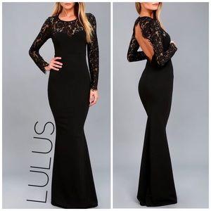 NWT Lulus black open back formal dress S M 2 4 6 8